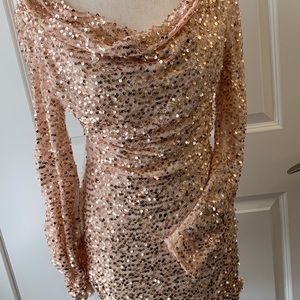"""""""Steal the show"""" gold shimmer sequined dress"""